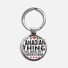 Canadian Button Round Keychain