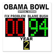 "cp_obama_bowl_button Square Car Magnet 3"" x 3"""