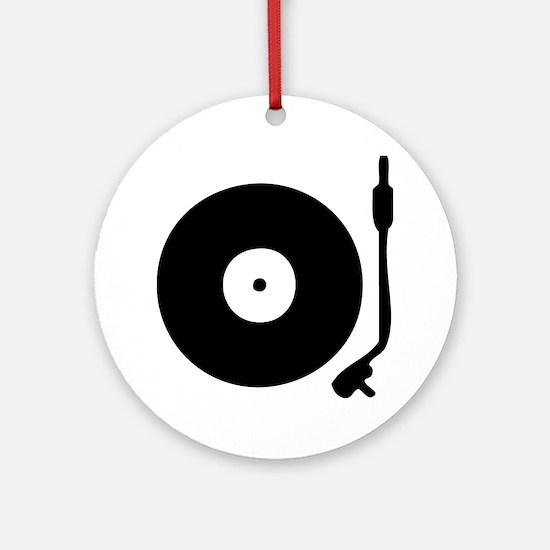 Vinyl Record Turntable Round Ornament
