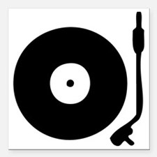 "Vinyl Record Turntable Square Car Magnet 3"" x 3"""