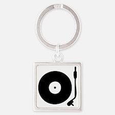 Vinyl Record Turntable Square Keychain