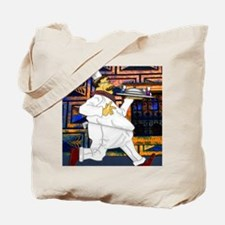Cook with food tray notecard 4 5x5 75 edi Tote Bag