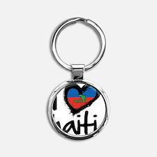 iheart-Haiti-island Round Keychain