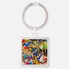 4-Competitive Sports Art and Photo Square Keychain