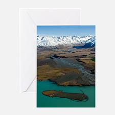 Lake-Tekapo,-mnts--braided-5289-note Greeting Card