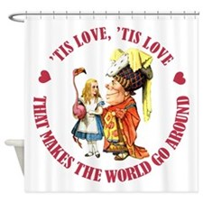 ALICE_tis love_RED copy Shower Curtain