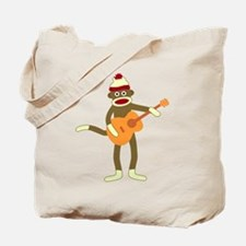 Sock Monkey Acoustic Guitar Player Tote Bag