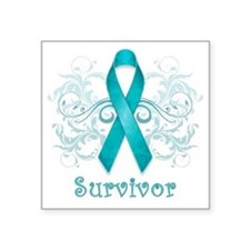 "TealCancerSurvivor Square Sticker 3"" x 3"""