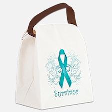 TealCancerSurvivor Canvas Lunch Bag