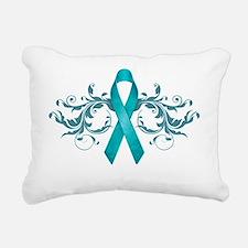 Teal RibbonDark Rectangular Canvas Pillow