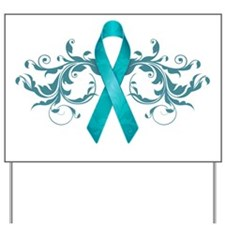 Teal RibbonDark Yard Sign