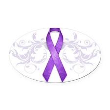 PurpleRibbon Oval Car Magnet