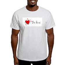 """I Love You"" [Albanian1] Ash Grey T-Shirt"