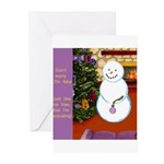 Snowman Decorating Christmas Tree Greeting Cards