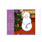 Snowman Decorating Christmas Tree Postcards (Packa