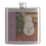 Snowman Decorating Christmas Tree Flask