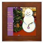 Snowman Decorating Christmas Tree Framed Tile