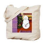 Snowman Decorating Christmas Tree Tote Bag