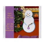 Snowman Decorating Christmas Tree Throw Blanket