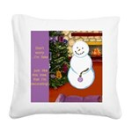 Snowman Decorating Christmas Tree Square Canvas Pi