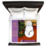 Snowman Decorating Christmas Tree King Duvet