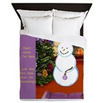 Snowman Decorating Christmas Tree Queen Duvet