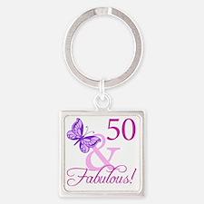 Fabulous_Plumb50 Square Keychain