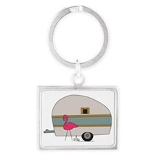 Camper with Flamingo Landscape Keychain