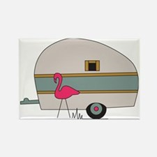 Camper with Flamingo Rectangle Magnet