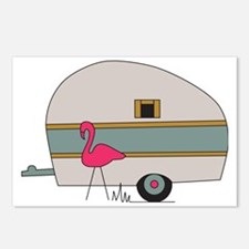 Camper with Flamingo Postcards (Package of 8)