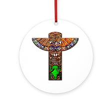 Totem Pole Texture Art 12x12 Round Ornament