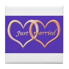 Just Married (love hearts)  Tile Coaster