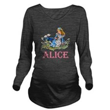 ALICE_BLUE_PINK copy Long Sleeve Maternity T-Shirt