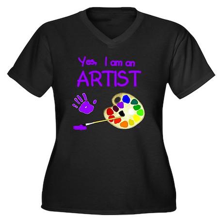 01-yes-im-an Women's Plus Size Dark V-Neck T-Shirt