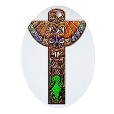 Totem Pole Texture Art Mini Poster P Oval Ornament