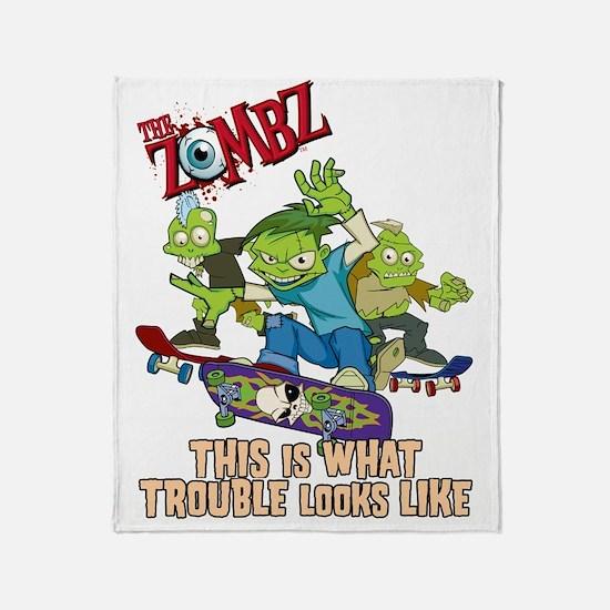 2-zombz_all_trouble_v2 Throw Blanket