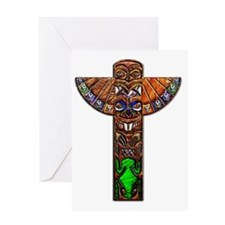 Totem Pole Texture Art Note Card Greeting Card