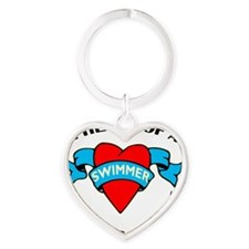 Heart of a Swimmer tattoo Heart Keychain