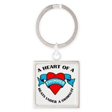 Heart of a Swimmer tattoo Square Keychain