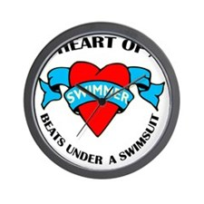 Heart of a Swimmer tattoo Wall Clock