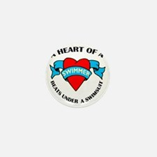 Heart of a Swimmer tattoo Mini Button
