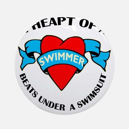 Heart of a Swimmer tattoo Round Ornament