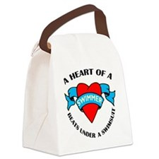 Heart of a Swimmer tattoo Canvas Lunch Bag