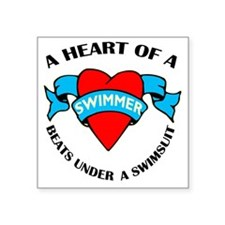 "Heart of a Swimmer tattoo Square Sticker 3"" x 3"""