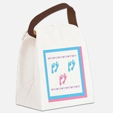 3 sets of foot prints 2b 1g Canvas Lunch Bag