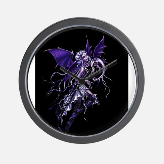 Purple Dragon Fairy Wall Clock