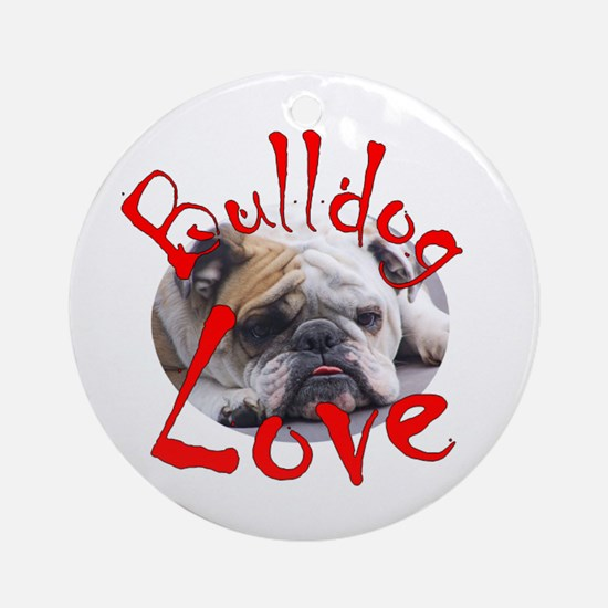 Bulldog Love Ornament (Round)