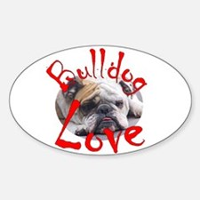 Bulldog Love Oval Decal