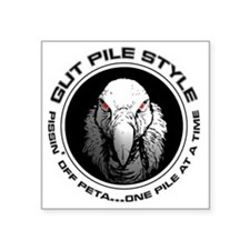"Gut Pile Style Buzzard Square Sticker 3"" x 3"""