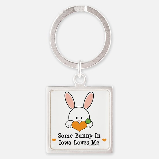 IowaSomeBunnyLovesMe Square Keychain